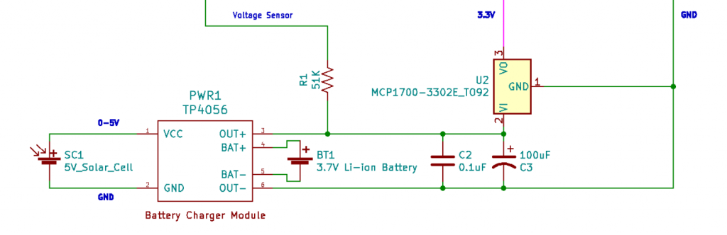Solar cell and battery charging circuit.