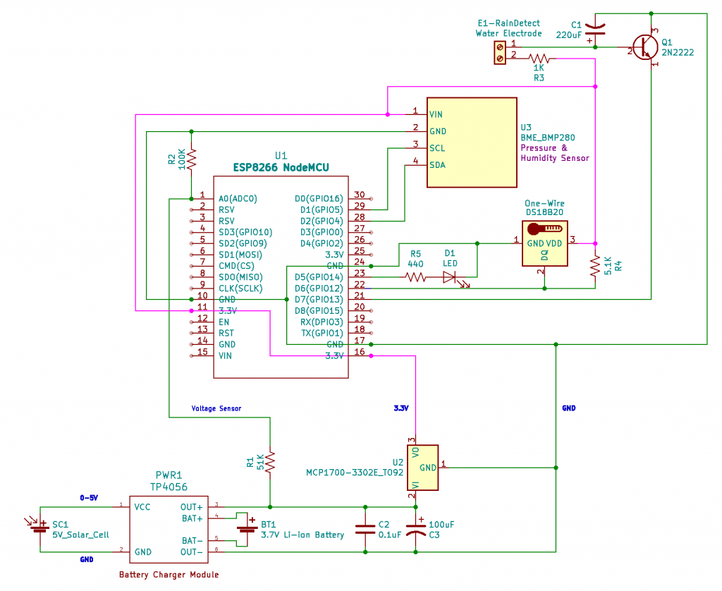Schematic - ESP8266 Solar Powered Weather Station